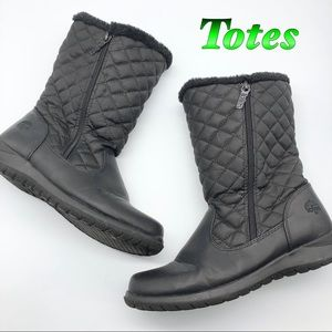 Totes- Black Quilted All weather Rain Snow Boot 8